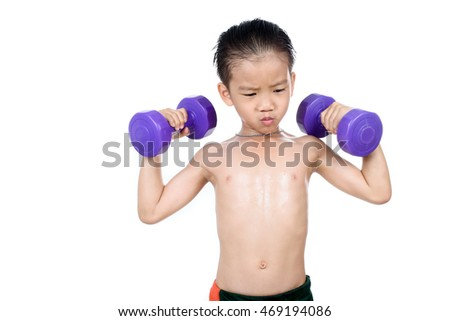 Strong man arm lift violet dumbbell, exercise in gym. Isolated on white background