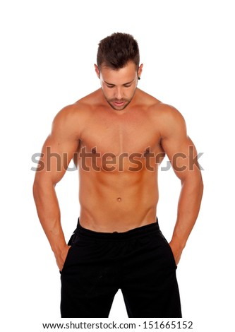 Strong man saying Ok isolated on a white background - stock photo