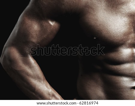 Strong man with a healthy body - stock photo