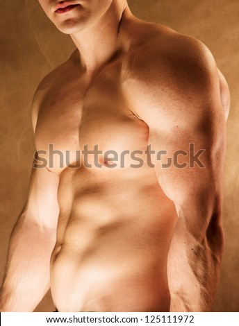 Strong man with a helathy body - stock photo