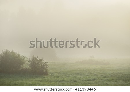 Strong morning fog above the field - stock photo
