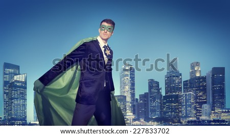 Strong Powerful Business Superhero Cityscape Concepts