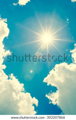 Strong sun and skies;vintage tone style - stock photo