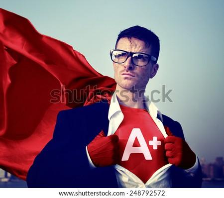 Strong Superhero Businessman Grade A plus Concepts - stock photo