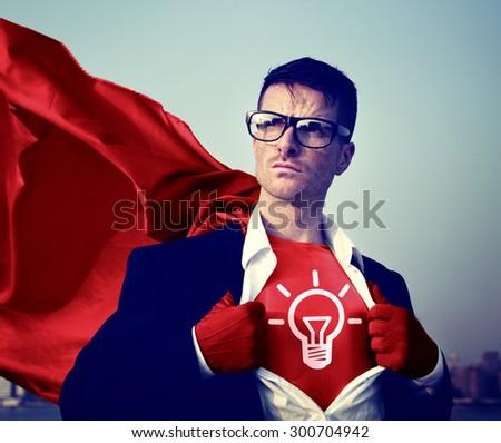 Strong Superhero Businessman Ideas Concepts - stock photo