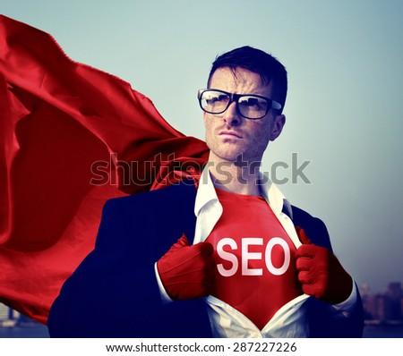 Strong Superhero Businessman SEO Concepts - stock photo