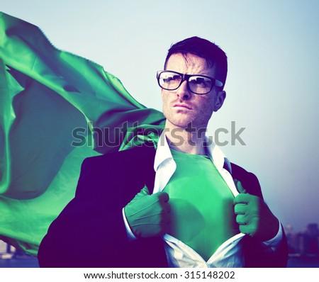 Strong Superhero Businessman Transforming Concept - stock photo
