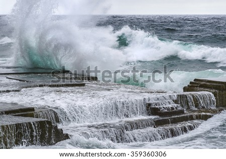 Strong surf. Foros, Republic of Crimea - stock photo