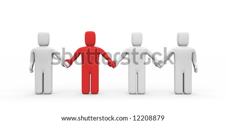 Strong union with different person - stock photo