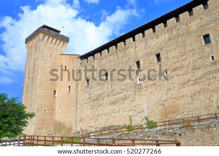 Strong walls defending the Rocca Albornoziana fortress in Spoleto, Umbria, Italy