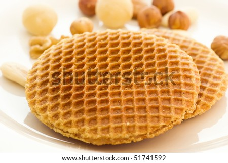 Stroopwafel with Nuts - stock photo