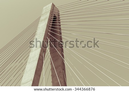 Structural abstract split tone effect Veterans Memorial stay bridge across the Mississippi River in St Louis, Illinois, USA - stock photo
