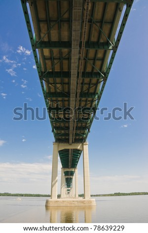 Structure below the Laviolette Bridge in Trois-Rivieres Quebec, Canada - stock photo