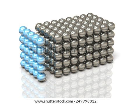 Structure configured in small balls, form a single organization. - stock photo