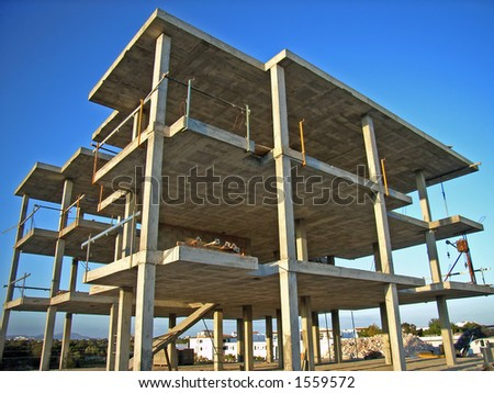 Structure of a new building for a block of apartments near the coast