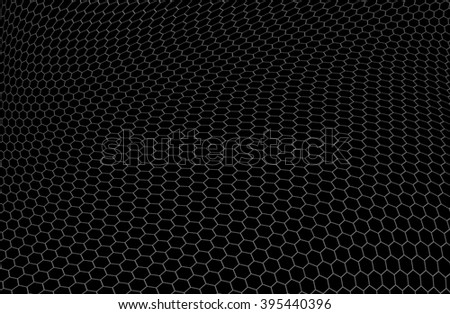 Structure of graphene in the form of hexagons over black background - stock photo