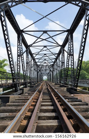 structure of metal railway bridge,Old railway bridge - stock photo