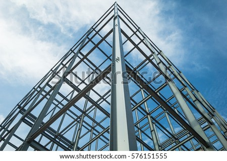 Structure Steel Building Construction On Sky Stock Photo ...