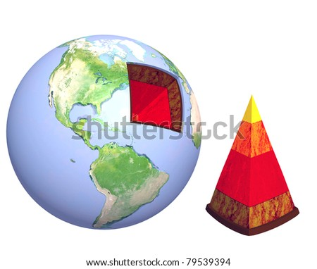 Structure of the Earth. Model isolated over white - stock photo