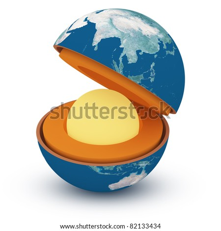 Structure of the planet. Earth geosphere 3d concept isolated on white - stock photo