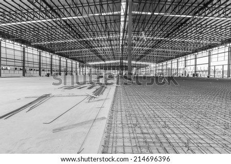 structure of warehouse logistics Supply Chain during pouring a reinforced concrete slabs - stock photo