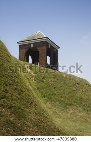 Structure on hill at Vicksburg National Military Park - stock photo
