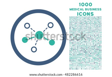 Structure rounded glyph bicolor icon with 1000 medical business icons. Set style is flat pictograms, cobalt and cyan colors, white background.