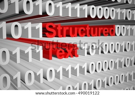 Structured Text in the form of binary code, 3D illustration