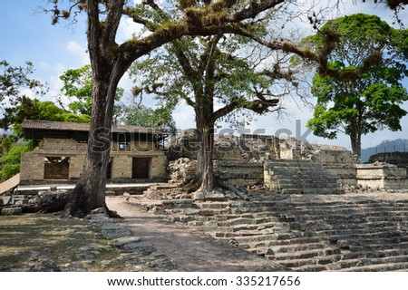 Structures of East court at Copan archaeological site of Maya civilization in Honduras - stock photo