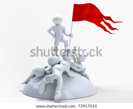 Struggle. A proud winner holding a flag. - stock photo