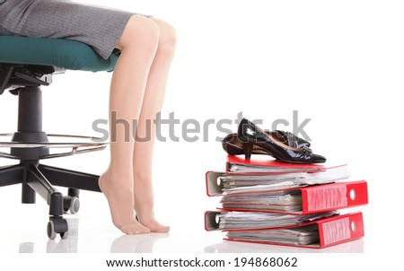 Stuck in work concept woman businesswoman on careers rest break - stock photo