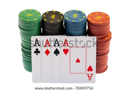Stuck of Casino Chips and Aces, close up, isolated on white background