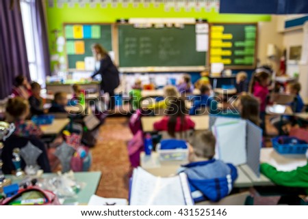 student and teacher learning in class room ,blurred image determine to back to school concept.   - stock photo