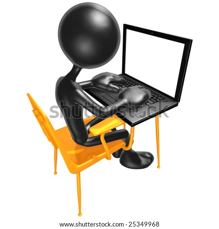 Student At Desk With Laptop - stock photo