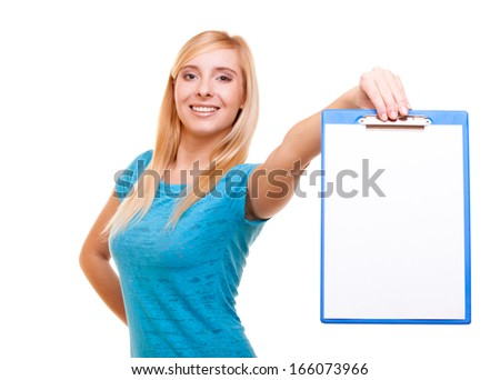 Student blank sign. Blonde girl female college student holds clipboard with empty blank. Isolated on white background - stock photo