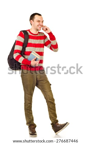 student boy isolated on a white background - stock photo