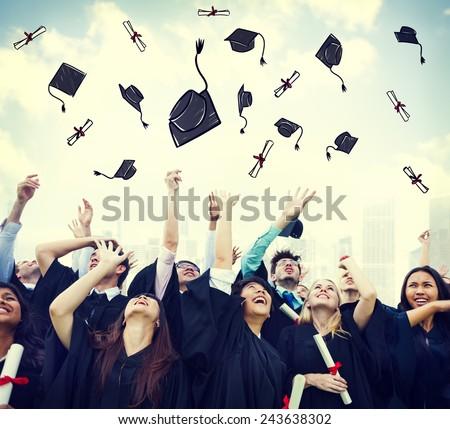 Student Celebration Education Graduation Happiness Concept - stock photo