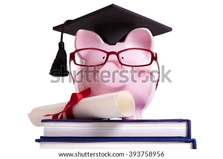 Student college graduate Piggy Bank degree diploma isolated on white, front view - stock photo