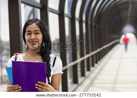Student college with book on the bridge - stock photo