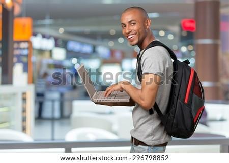 Student, Computer, Laptop. - stock photo