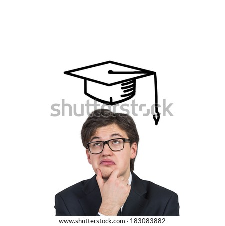 Student dreaming about graduation - stock photo