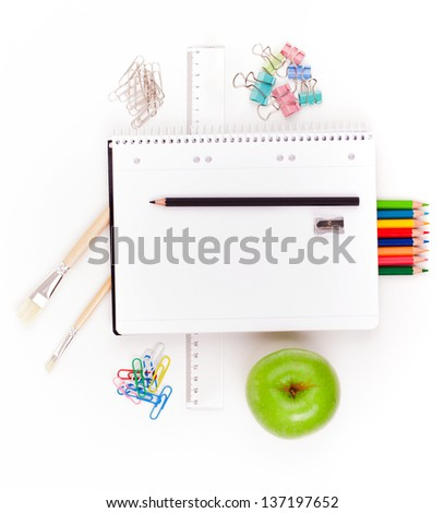 Student gear over white background - Back to school concept - stock photo
