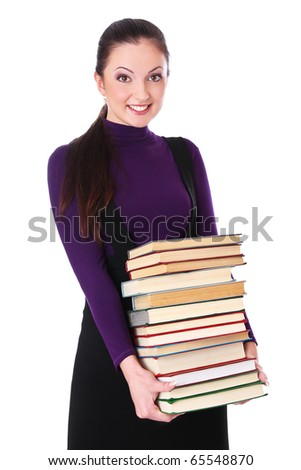 student girl is happy with books. Isolated at white background - stock photo