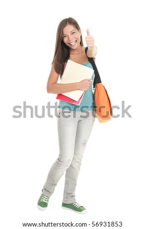 Student girl. Isolated full length portrait of a beautiful young Asian woman university student. Beautiful smiling mixed race Caucasian / Chinese young woman model. Isolated on white background. - stock photo