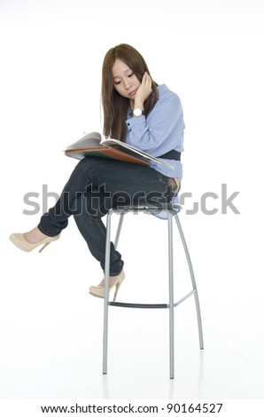 Student girl reading in bored action.