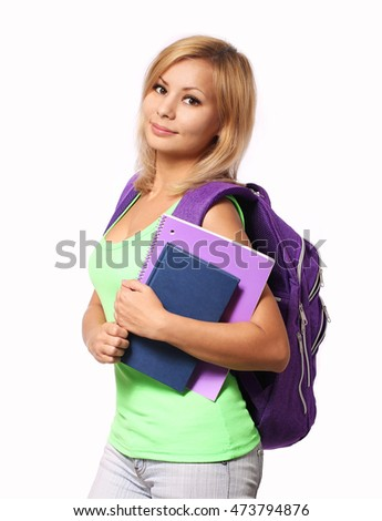 Student girl with backpack and books isolated on white. Back to school