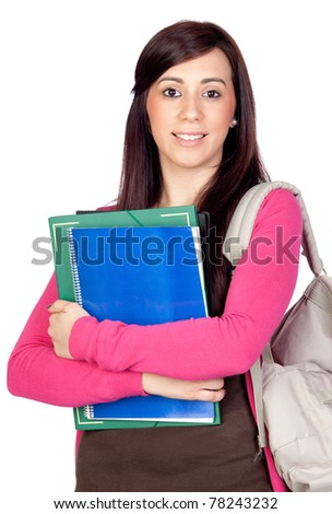 Student girl with backpack isolated on a over white background - stock photo