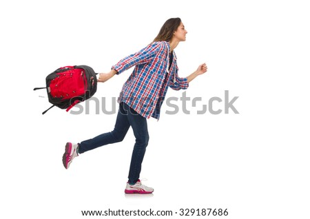 Student girl with backpack isolated on white - stock photo
