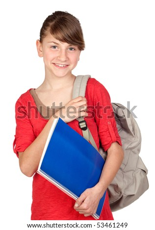 Student girl with backpack isolated on white background