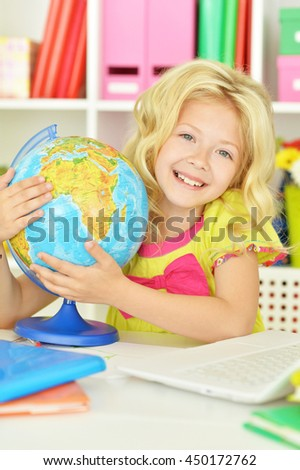 student girl  with books and laptop - stock photo